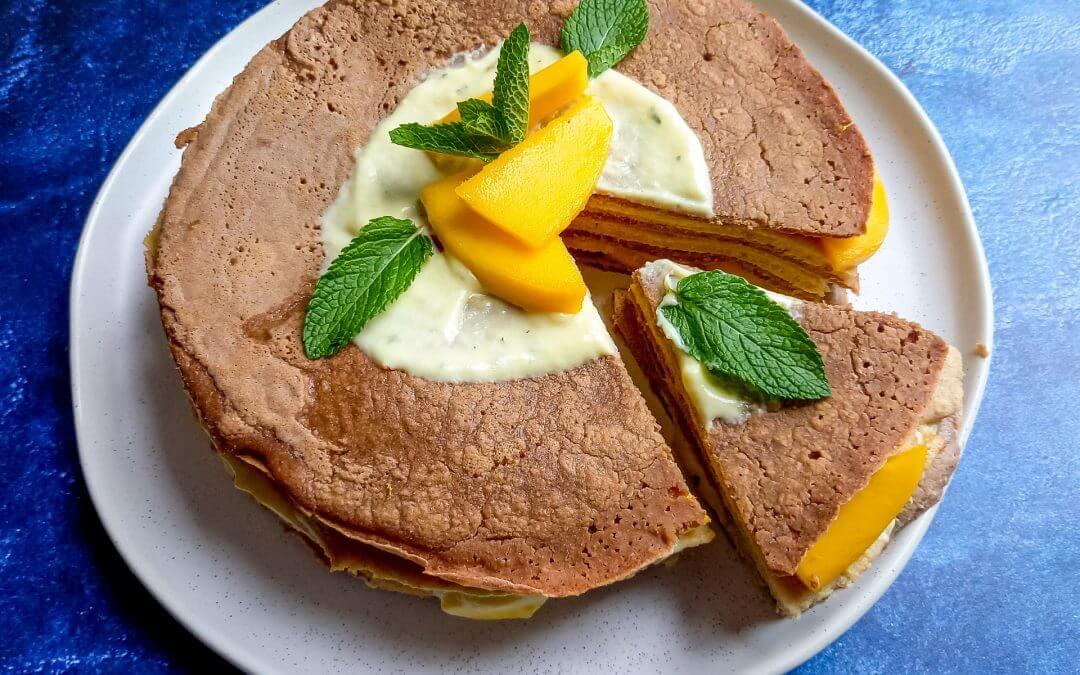 Pannenkoekentaart met mango munt yoghurt (glutenvrij)