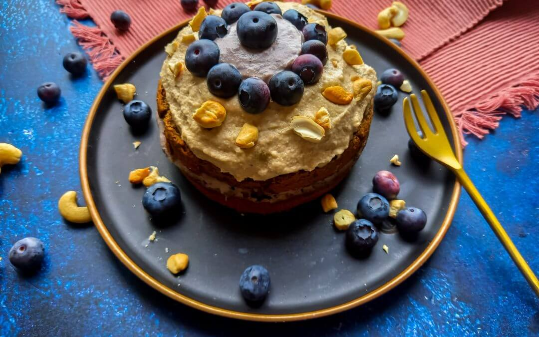 Blauwe bessentaartje met cashewnotencrème (glutenvrij)