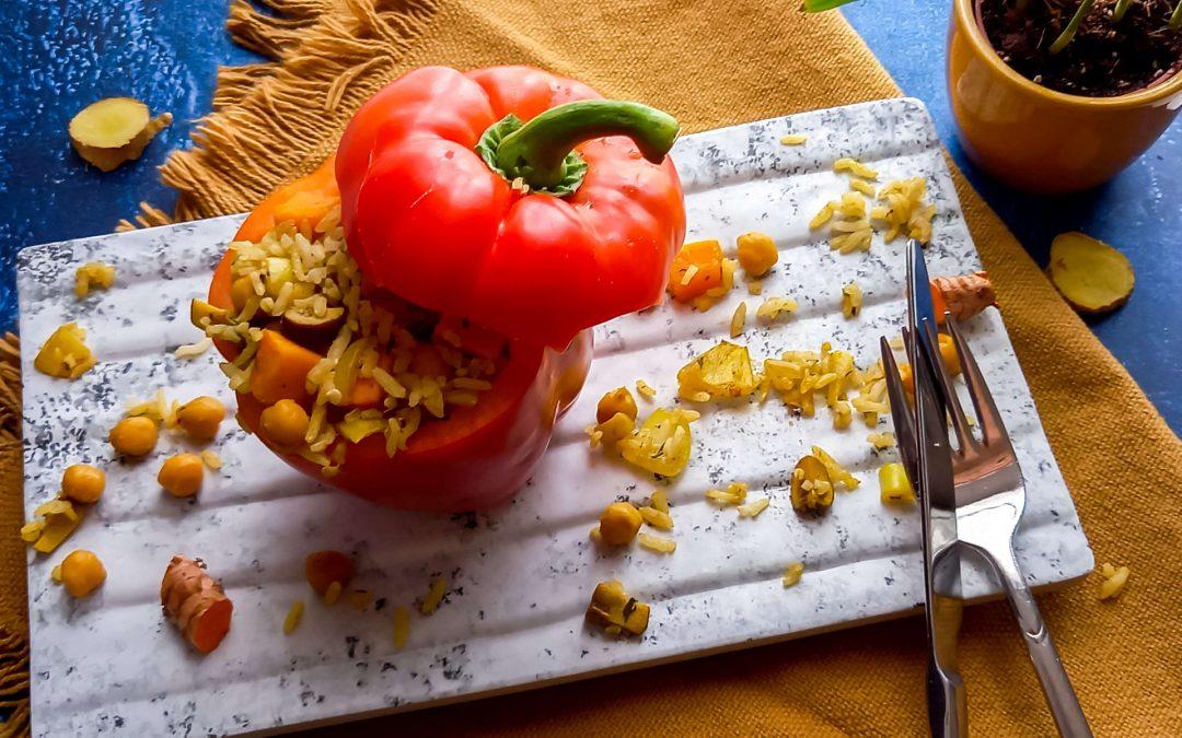 Gevulde paprika met zoete aardappel