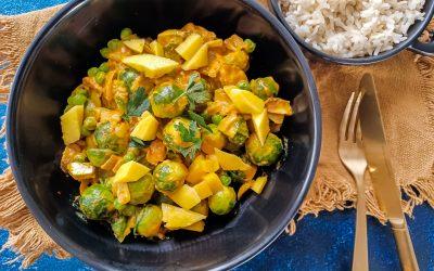 Spruitjes curry met zilvervliesrijst